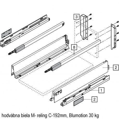 Antaro sada Blumotion biela M- reling C-192mm
