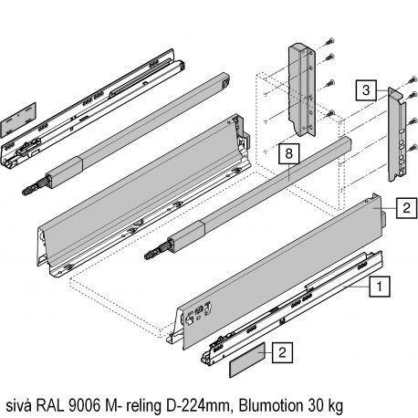 Antaro sada Blumotion sivá M- reling D-224mm