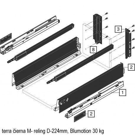 Antaro sada Blumotion čierna M- reling D-224mm