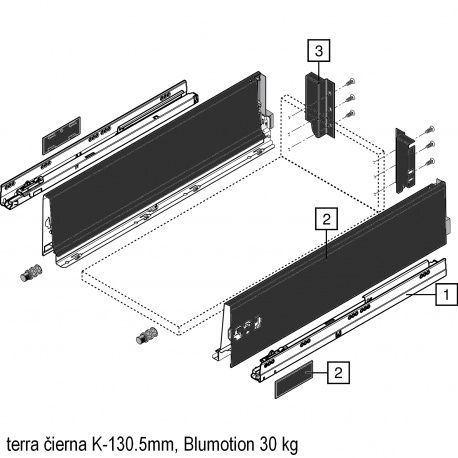 Antaro sada Blumotion čierna K-130.5mm