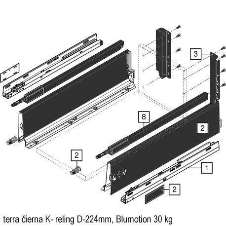 Antaro sada Blumotion čierna K- reling D-224mm