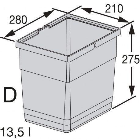 Ninka nádoba tmavosivá, typ D - 13.5L ŠxVxH 210x275x280mm