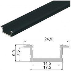 Led profil čierny zápustný YT01, ALF1 3000mm