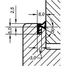 Tesnenie okenné AC 5019 2.5mm, 50m