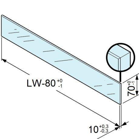 Legrabox zasúvací prvok sklo predný nízky 1200 pre 18/19mm