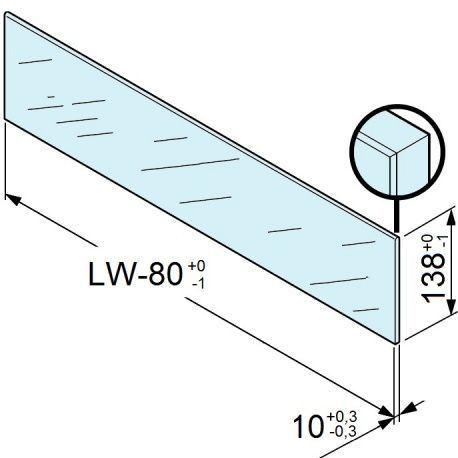 Legrabox zasúvací prvok sklo predný vysoký 450 pre 18/19mm