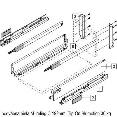 Antaro sada Tip-On Blumot. biela M- reling C-192mm