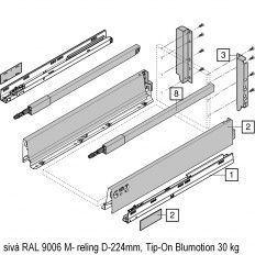 Antaro sada Tip-On Blumot. sivá M- reling D-224mm