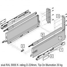 Antaro sada Tip-On Blumot. sivá K- reling D-224mm
