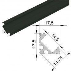 Led profil čierny rohový YT04, ALF1 3000mm