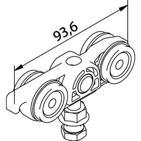 Solido 80 vozík s guľôčk. ložisk. skrutka M8 x 40mm