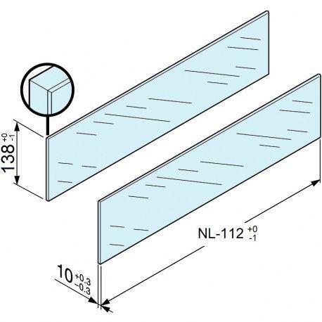 Legrabox zasúvací prvok sklo bočný 650mm