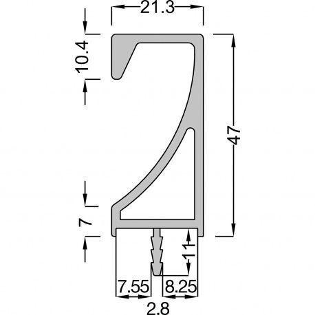 Úchytková lišta Akrete hliník, prírodný elox, 2500mm
